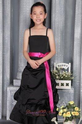Belt Straps Black Flower Little Girl Dress Colored
