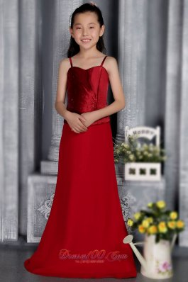 Wine Red Straps Brush Beaded Flower Girl Dress Satin