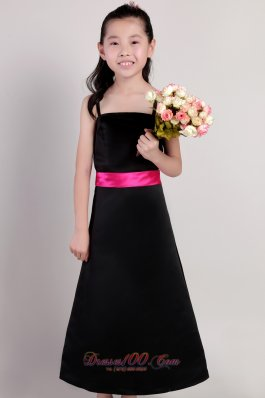 Black Straps Pageant Flower Girl Dress Waistband