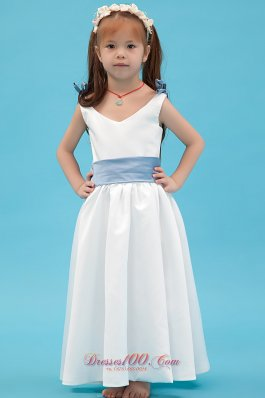 V-neck Colored Belt Flower Little Girl Dresses