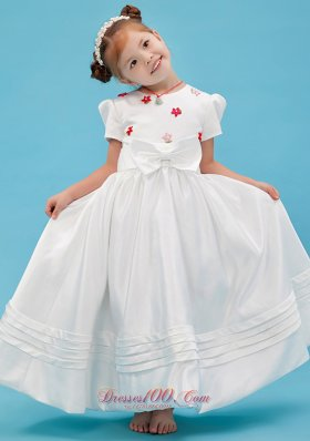 Colorful Scoop Sash Pageant Flower Girl Dress Taffeta