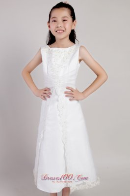 White Appliques Short Youngster Flower Girl Dress