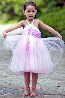 Halter Pink Little Girl Dress Hand Made Flowers