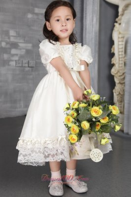 Beading Sleeves Taffeta Pageant Flower Girl Dress