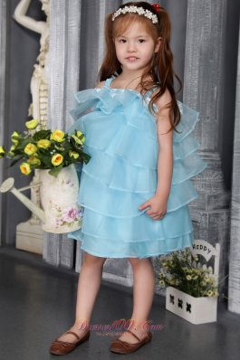 Organza Beaded Aqua Blue Flower Girl Dress Straps