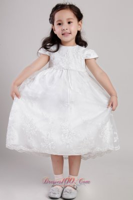 Appliques Scoop Flower Girl Pageant Dress Sleeves