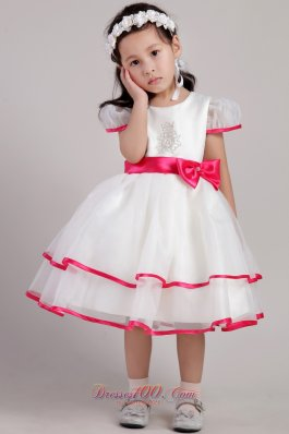Beaded Bowknot Pageant Little Girl Dress Colored