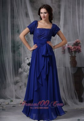 Beaded Chiffon Square Royal Blue Bridal Mother Dress