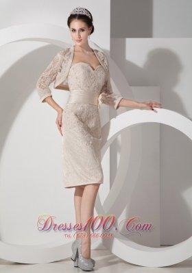 Appliques Belt Champagne Short Mother Dress Sweetheart