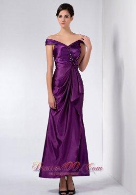 Off The Shoulder Purple Wedding Mother Dress Beaded
