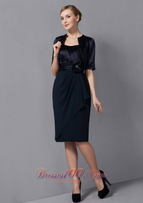 Black Sash Short Chiffon Mother Of The Bride Dress