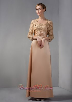 Appliques Satin Champagne Ankle-length Mother Dress