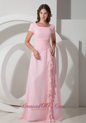 Ruffled Baby Pink Beaded Mother Of The Bride Dress