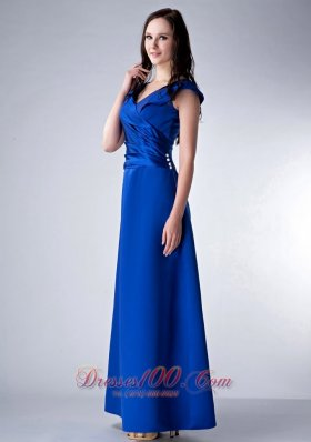 Satin Ankle-length V-neck Royal Bridesmaid Dress Ruched