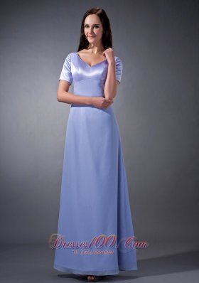 V-neck Lilac Chiffon Short Sleeves Bridesmaid Dress