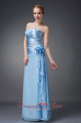 Handmade Ruched Baby Blue Mother Of The Bride Dress
