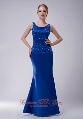 Scoop Beaded Royal Blue Blue Mother Dress