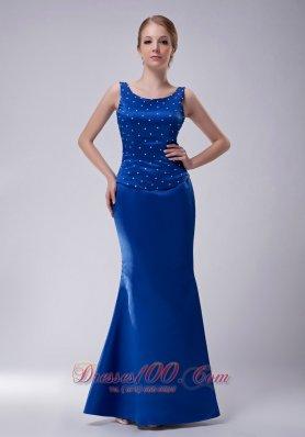 Scoop Beaded Royal Blue Blue Mother Dress
