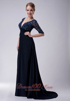 Half Sleeves Brush Navy V-neck Chiffon Mother Dress