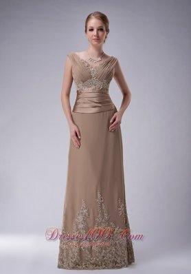 V-neck Champagne Chiffon Mother Dress with Appliques