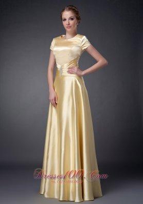 Scoop Light Yellow Short Sleeves Mother Dress Beaded
