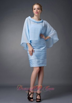 Baby Blue Knee-length Mother Of The Dress Column Scoop