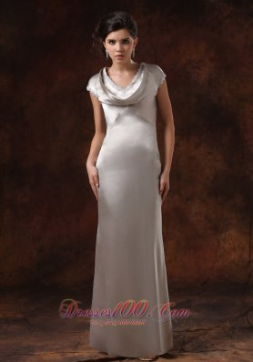Satin Silver V-neck Mother Of The Dress Short Sleeves