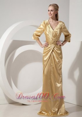 Gold V-neck Evening Dress Taffeta Ruch