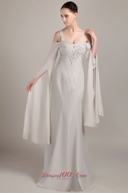 Grey Wide Straps Chiffon Mother Of Bride Dress