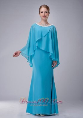Aqua Blue Scoop Mother-in-law Dresses Chiffon