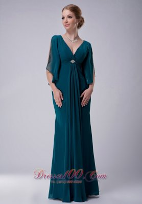 Peacock Green V-neck Mother-in-law Dresses Chiffon
