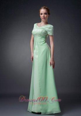 Apple Green A-line V-neck Motb Dress Chiffon Beading