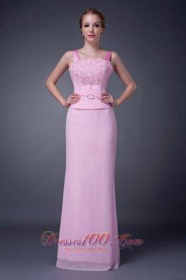 Baby Pink Straps Motb Dress Chiffon