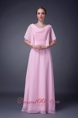 Baby Pink Empire V-neck Motb Dress Chiffon