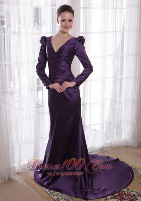 Dark Purple Sheath V-neck Taffeta Mom's Dress