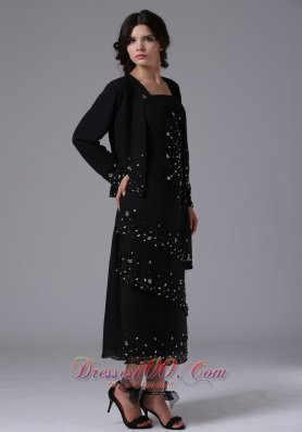 Black Jacket Straps and Beading Mom's Dress