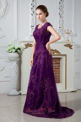 Eggplant Purple A-line Scoop Mom's Dress