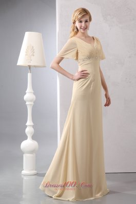 Light Yellow Empire Prom Dress V-neck Chiffon Beading