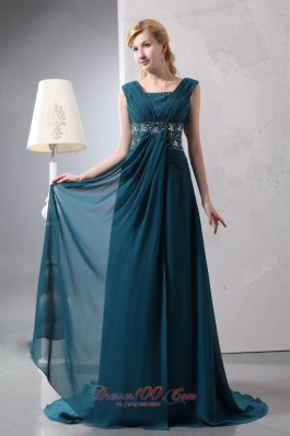 Peacock Green Empire Prom Dress Straps Chiffon Beading