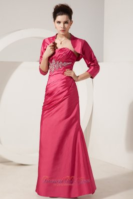 Column Short Jacket Applique Ruched Mother Bride Dress