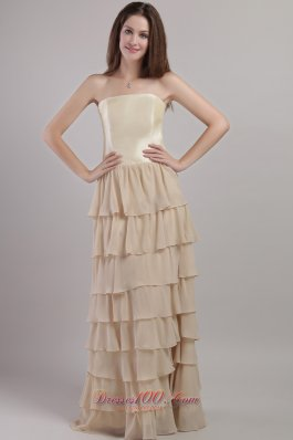 Chiffon and Satin Mother Bride Dress with Layered Ruffles