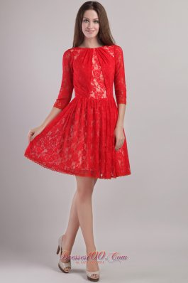 3/4 Sleeves Lace Bateau Mother Bride Dress Mini-length