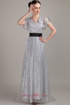 Flounced Short Sleeves V-neck Sequin Belt Mother Bride Dress