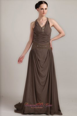 V-neck Ruched Race Design Back Mother Bride Dress
