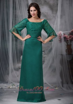 Half Sleeves Flounced Scoop Mother of Bride Dress
