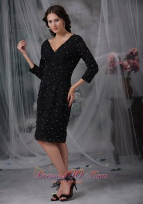 Special Fabric Mother of the Bride Dress 3/4 Sleeves