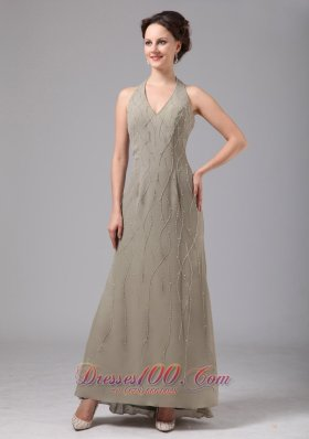 Halter Grey Chiffon Appliques Dress For Mothers