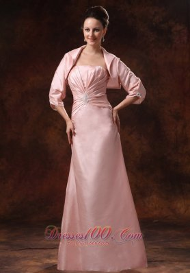 Baby Pink Ruching Appliques Mother Dress Jacket