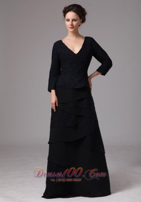 Black V-neck Layers Mother Dress 3/4 Length Sleeves