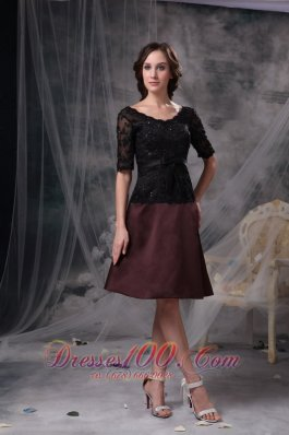 Black and Brown Scoop Beading Mother Dress Lace